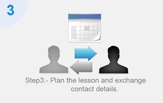 Plan the lesson and exchange contact details.